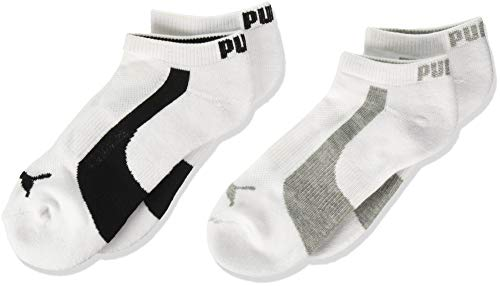 Puma Women's 1/2 Terry Low Cut Athletic Running Sock, 9-11, 3 White&Black / 3 White&Grey