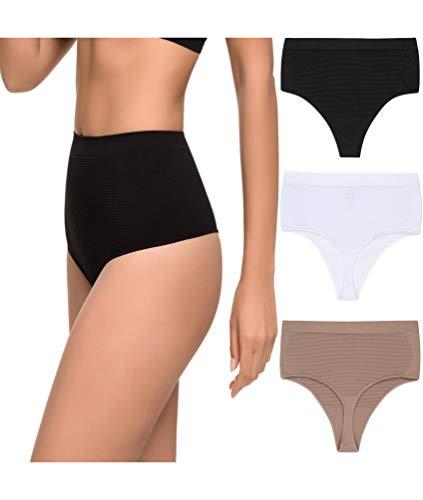 Pack de 3 Tanga Faja Reducción Ligera de Abdomen Mujer Sin Costuras Lycra. Braga Tanga Moldeador. (Surtido, S/M)