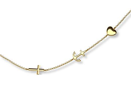 LillyMarie dames 333 gouden ketting geloof, liefde, hoop lengte verstelbare zoetwaren geschenken vrouwen gift