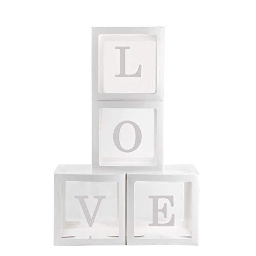 4Pcs / Set Quadrato Trasparente Palloncino Scatole Baby Shower Battesimo Compleanno Festa Decorazione - Love