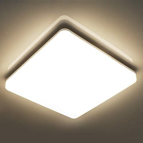 Oeegoo Lampara de Techo 18W, IP44 resistente al agua,1800LM LED Plafon de Techo para Baño Cocina Dormitorio Balcón Corredor Oficina Comedor Blanco Natural 4000K