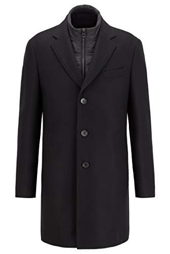 Boss Nadim4 - Abrigo de mezcla de lana para hombre con inserto en el pecho extraíble gris claro 58