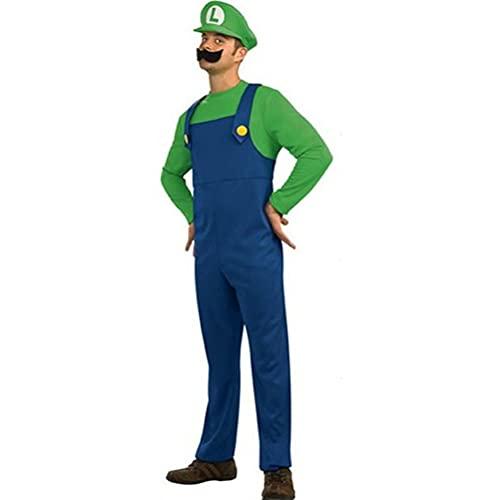 YIANG Traje de Halloween de Super Mario Masculino Cosplay Adulto Hermanos Rojos y Verdes (Contiene: Sombrero + Top + Pantalones + Guantes + Bigote) Green-L