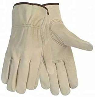 12 Pair Large Leather Work Gloves. Durable Cowhide Leather. Ideal Hand Protection for Construction & Industrial Use. SM to 3X Sizes. (Large)