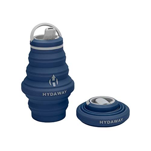 HYDAWAY Collapsible Water Bottle, 17oz Spout Lid | Ultra-Packable, Travel-Friendly, Food-Grade Silicone (Seaside)