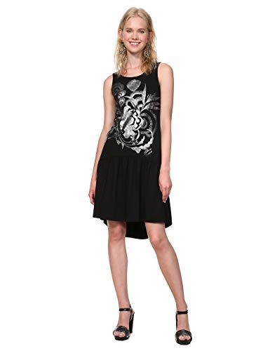 Desigual Dress Sleeveless Omahas Woman Black Robe, Noir (2000), Taille L Femme