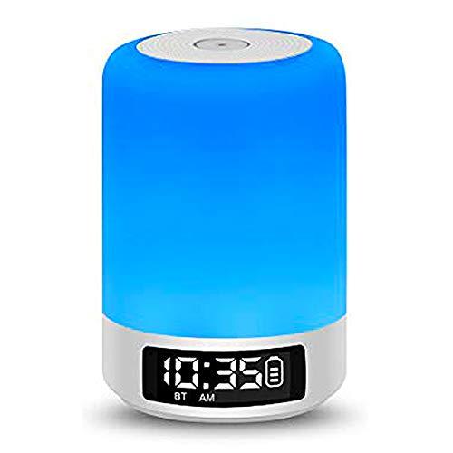 Luce notturna e sveglia con altoparlante Bluetooth, lampada da comodino con sensore Smart Touch, (Luce bianca calda a 3 livelli regolabile e RGB a sei colori, supporta Micro SD)