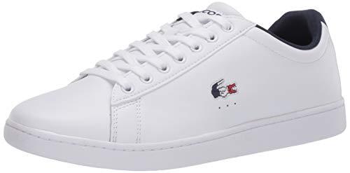 Lacoste Men's Carnaby Sneaker, Ultra White/Navy/Red, 7.5 Medium US
