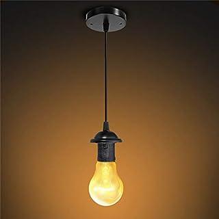 Osairous - Plafón vintage con base de lámpara E27, soporte de lámpara de metal negro 220 V, 1 m, cable de iluminación Base de lámpara