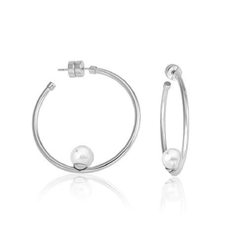 Pendientes de aro Marianela Majorica - 16371.01.A.000.010.1 - con una perla en su interior.