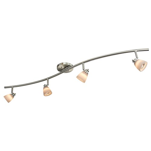 Direct-Lighting 4 Light Adjustable Track Light, Brushed Steel Finish, White Glass Shade, Ready to Install, Bulb Included, D268-44C-BS-WH