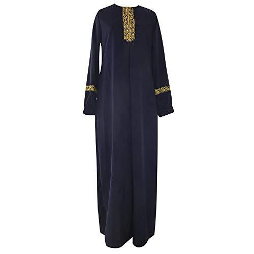 Damen Plus Size Print Abaya Jilbab muslimischen Maxi-Kleid Casual Kaftan langes Kleid,Loser Normallack Kleidungs Damen Lange Ärmel Ramadan Kleider Gebet Kleid