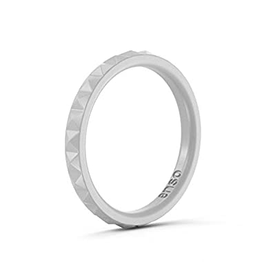 Enso Womens Stackable Silicone Rings Misty Grey. Size: 6