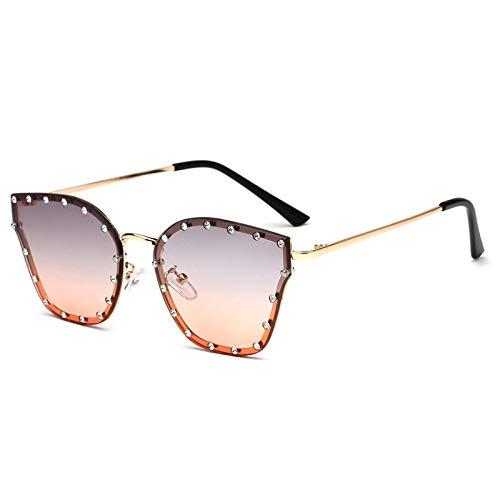Zonnebril, modieus, meerkleurig, met klinknagels, metalen frame, voor dames, platte glazen, UV400, UV-bescherming, geschikt voor paardrijden en rijden
