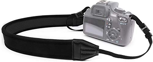 MyGadget Tracolla Reflex - Cinghia Fotocamera per Spalla o Collo - Camera Strap in Neoprene per DSLR, Canon, Nikon, Panasonic, Sony, Olympus - Colore Nero
