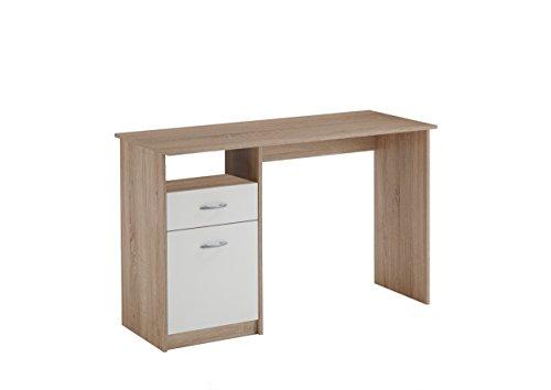 FMD Möbel 3004-001 Jackson Schreibtisch, Holz, eiche/weiß, 123 x 50 x 76.5 cm
