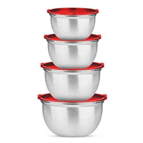 Stainless Steel Mixing Bowls Set of 4 With Lids - Premium 2 Tone Polished German Kitchen Bowls - For Cooking, Prepping, Serving - Stacking Bowls With Lids - Easy to Clean Prep Bowls - With Red Lids