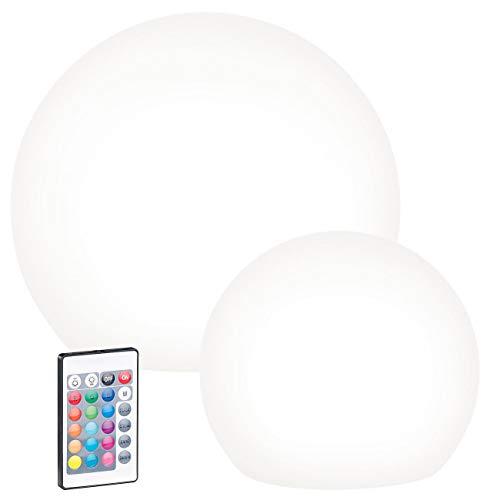 Lunartec Solar Kugelleuchte: 2er-Set Solar-LED-Leuchtkugeln mit Fernbedienung, Ø 20 cm + Ø 30 cm (Solarleuchte Kugel)