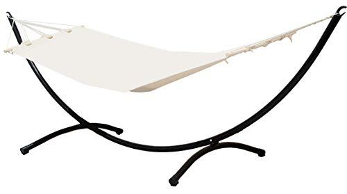 Hamaca con Soporte | Conjunto Completo | Hamaca en Algodón Beige con un robusto Soporte de Acero negro | Superficie para tumbarse 190x80cm ca | Peso máx soportado 120 kg