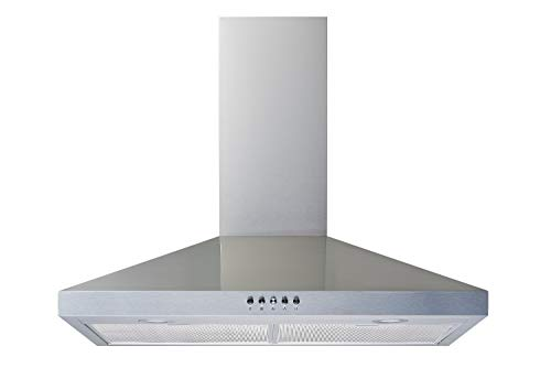 Winflo New 30' Convertible Stainless Steel Wall Mount Range Hood with Aluminum Mesh filter, Ultra bright LED lights and Push Button 3 Speed Control