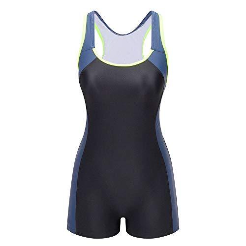 Lemef One Piece Swimsuit Boyleg Sport Swimwear for Women Black and Navy