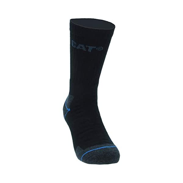 Caterpillar 6 pares de calcetines de trabajo hombres en Coolmax, doble refuerzo en puntera y talón, hilos de excelente calidad, esponja de algodón y fibra de licra