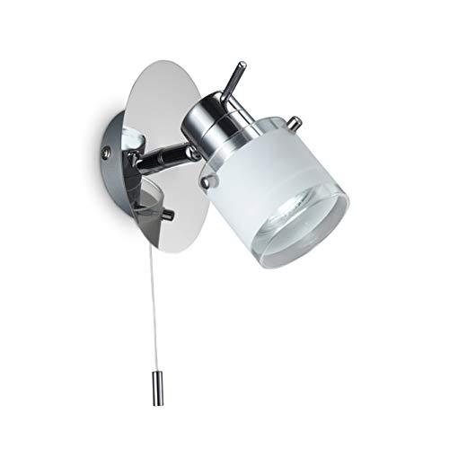 Aplique de baño LED especial BK Licht, IP44, interruptor de cable, foco orientable, luz de baño, blanco cálido, GU10, 230V, IP44, 5W