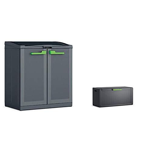 Keter Moby Recycling Armadio Per La Raccolta Differenziata 90X55X100H, 120 Litri, Plastica, Antracite & Moby Chest Cassone Multiuso Impermeabile Cert. Ipx1 118X49X55H Antracite