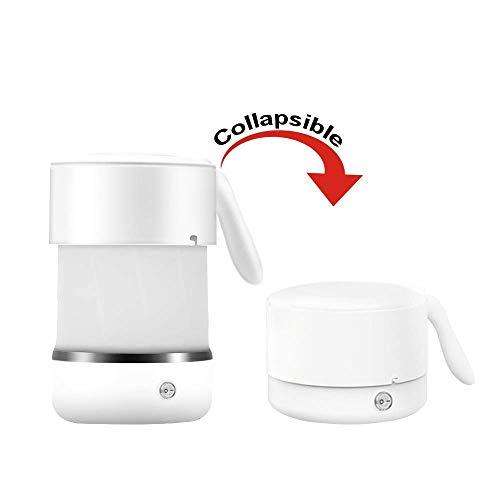 Hervidor eléctrico plegable para viajes, calentador de té caliente de 500 ml de silicona eléctrica con agua caliente, hervidor plegable de doble voltaje con fondo de acero inoxidable blanco 110-240 V