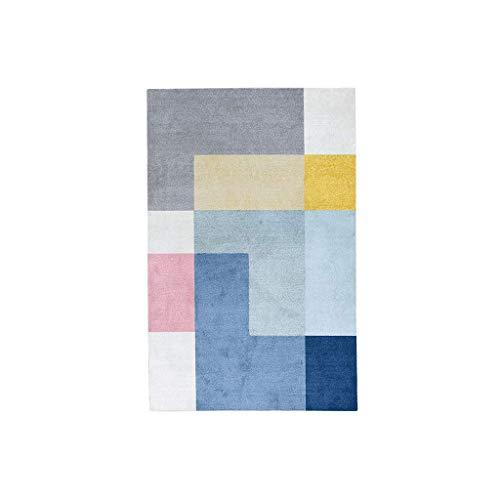 Tapis JXLBB Bleu Carré Gris Polyester Nordic Simple 1.4x2m Géométrique Conception Modèle Salon Table Basse de Sol Petit Moderne Chambre Chambre De Couleur