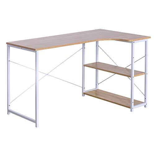 eSituro SCD0039 Table de Bureau Bureau d'ordinateur Table de Travail avec étagère en Bois et Acier,Chêne Clair+Blanc