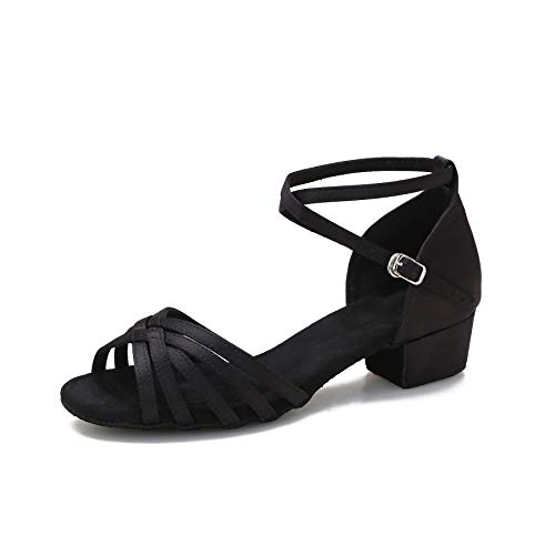 Yokala Womens Latin Salsa Dance Shoes for Social Beginner Low Heel Ballroom Practice Dancing Sandals S04(7,Black-1.5 Inch Heel)