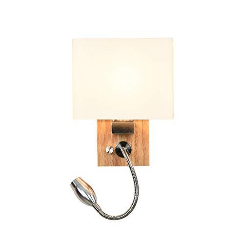 Applique en bois avec veilleuse et interrupteur, lampe de lecture LED 3W Lampe de chevet blanc chaud, applique en verre, prise E27, réglable lampe de lecture flexible Applique murale tache, moderne
