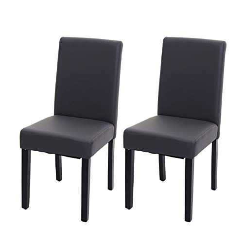 Mendler 2X Esszimmerstuhl Stuhl Küchenstuhl Littau ~ Kunstleder, grau matt, dunkle Beine