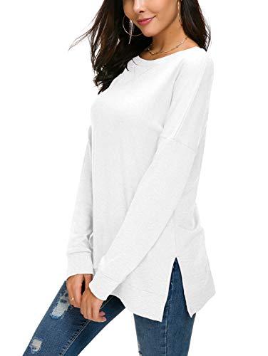 HIYIYEZI Women's Fall Long Sleeve Side Split Loose Casual Pullover Tunic Tops (Medium, White)