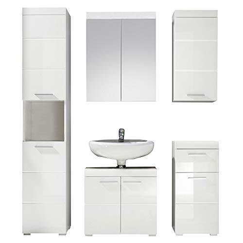 trendteam smart living Badezimmer 5-teilige Set Kombination Amanda, 163 x 190 x 34 cm in Weiß / Weiß Hochglanz mit viel Stauraum