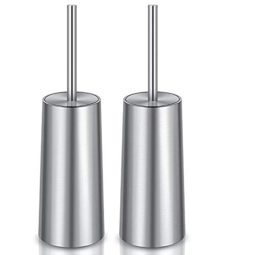 Toilet Brush and Holder, 2 Pack Toilet Brush 304 Stainless Steel, Toilet Bowl Brush for Bathroom Toilet-Ergonomic, Elegant,Durable
