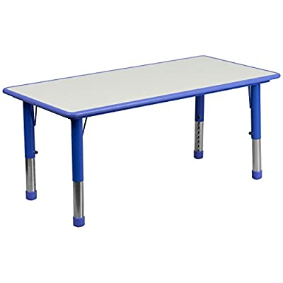 Flash Furniture Height Adjustable Rectangular Plastic Activity Table with Grey Top