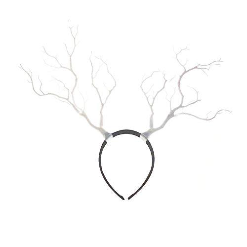 Gewei hoofdversiering, Kerstmis hoofdband, rendier gewei haarband hoofdband hoofdwear haarband hoofd Boppers haarspeld voor kinderen Kerstmis kostuum feest wit