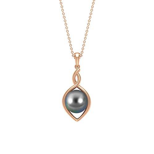 Rosec Jewels 14 quilates oro rosa redonda Black