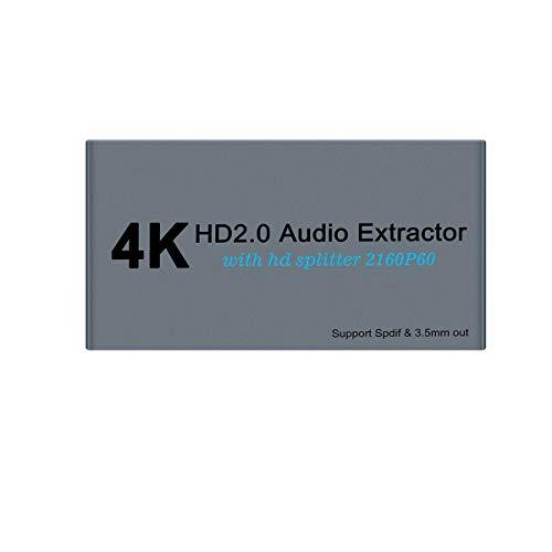 Divisor HDMI 2.0 4K60Hz con extractor de audio, HDMI HDCP 2.2, YUV 4:4:4, 3D con Spdif/Toslink/Optical de 3,5 mm de salida, 1 en 2 salidas de señal para PS4 Xbox Blu-ray DVD HDTV Projector