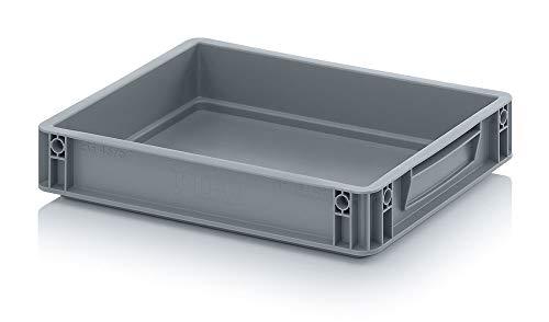 Auer Eurobehälter EG 43/75 Handgriffe geschlossen Stapelbox 40x30x7,5cm Kunststoffbox 6,9 Liter | Kommissionierbehälter stabil | Lager- und Transportbox | Lebensmittelbox Cateringbox | Wohnmobilbox