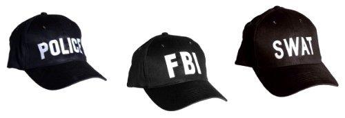 Mil-Tec Lot de 3 Casquette brodée Police + Swat + Fbi Taille réglable - Snapback cap - Coloris Noir - Airsoft - Paintball - Outdoor