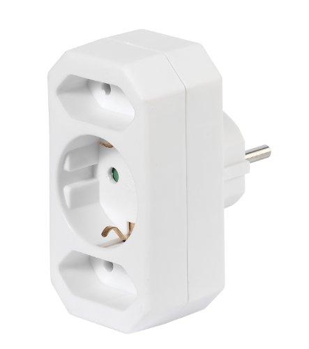 Vivanco A3 W Schuko-Adapter auf 1x Schukokupplung / 2x Eurokupplung, kompakt, weiß