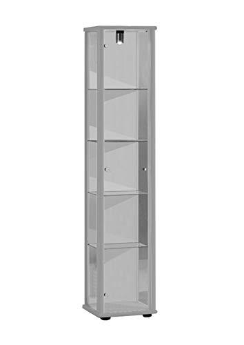 Vitrine 176x37x33 cm collection miniature couleur argent avec 4 étagères en verre, avec éclairage