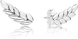 Kancus 925 Sterling Silver Earring Curved Grains Stud Earrings for Women Girl Fashion Gift Gift fit Lady Jewelry
