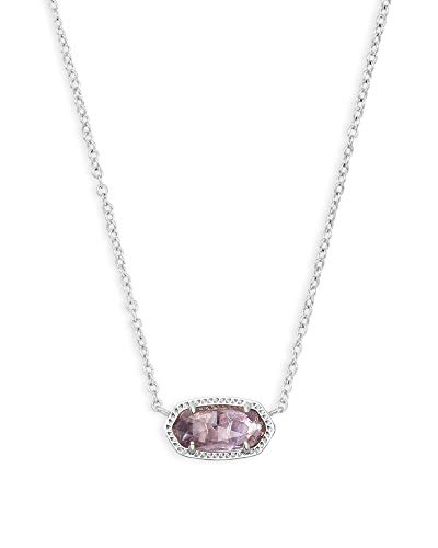 Kendra Scott Elisa Pendant Necklace for Women, Fashion Jewelry, Rhodium-Plated, Purple Amethyst