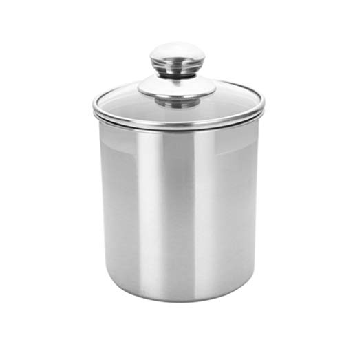 UPKOCH Stainless Steel Canister Set with Glass Lid Tea Coffee Bean Sugar Canister Dry Food Storage Container Snack Jar for Kitchen Counter 1750ml