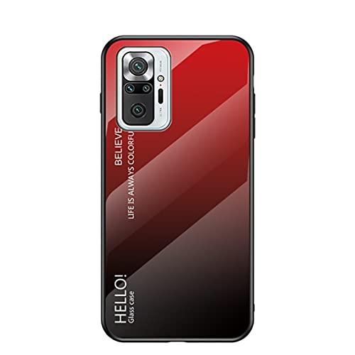 XINNI Vetro Sfumato Cover per Telefono Xiaomi Redmi Note 10 PRO|Note 10 PRO Max, Cornice in TPU Scocca AntiGraffio Antiurto Case Protezione a 360 Gradi Armatura Cellulare Custodia, Rosso