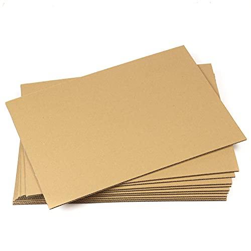 10 planchas de Cartón Corrugado A3 (420 x 297 mm), Laminas de cartón ondulado rígido 4 mm marrón kraft, para manualidades, refuerzo de sobres, cajitas, maquetas